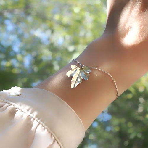 Bracelet feuille de Lierre en argent recyclé