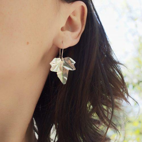 Boucles d'oreilles feuille de Lierre en argent recyclé